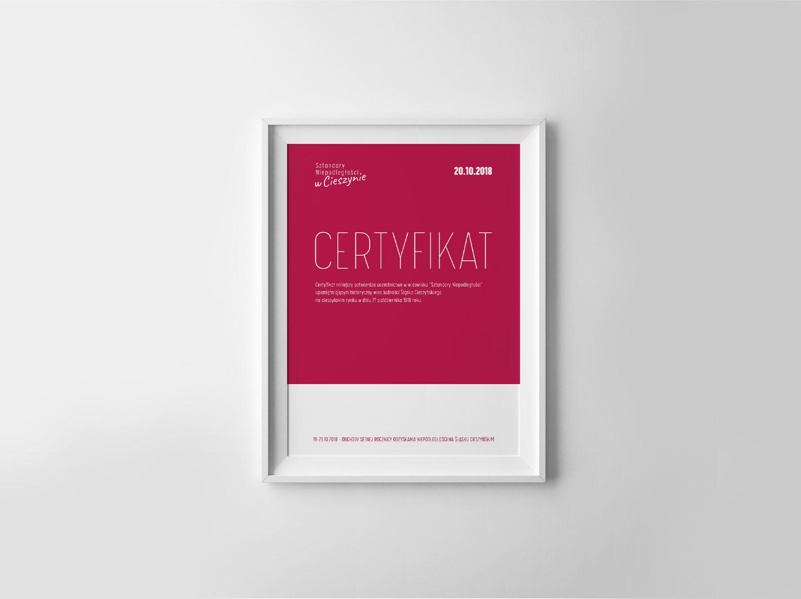 Sztandary Niepodległości w Cieszynie – certyfikat