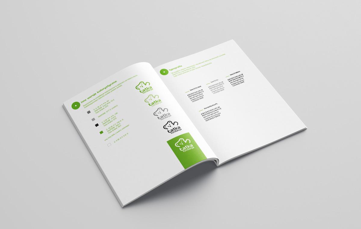 Kolorystyka i typografia system identyfikacji Fundacji Łatka